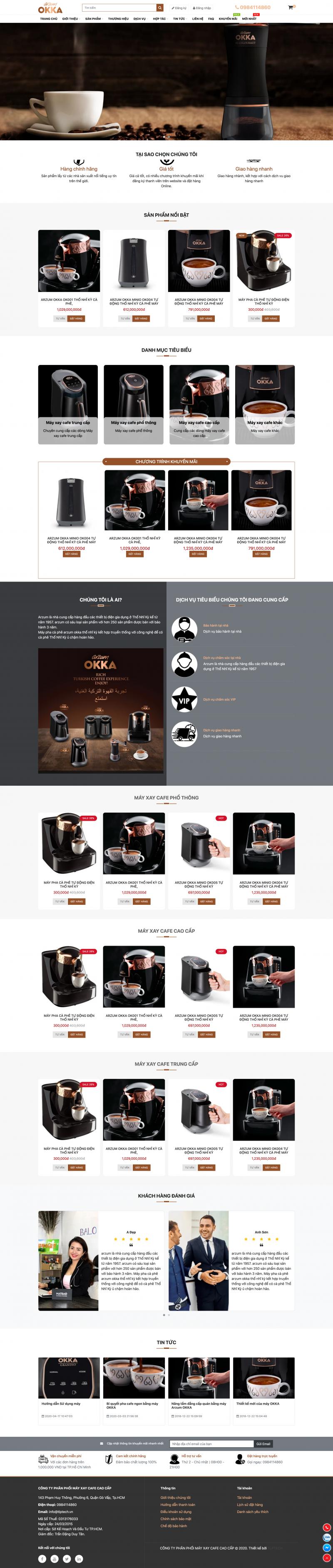 Web1 - thiết kế web bán máy xay cafe