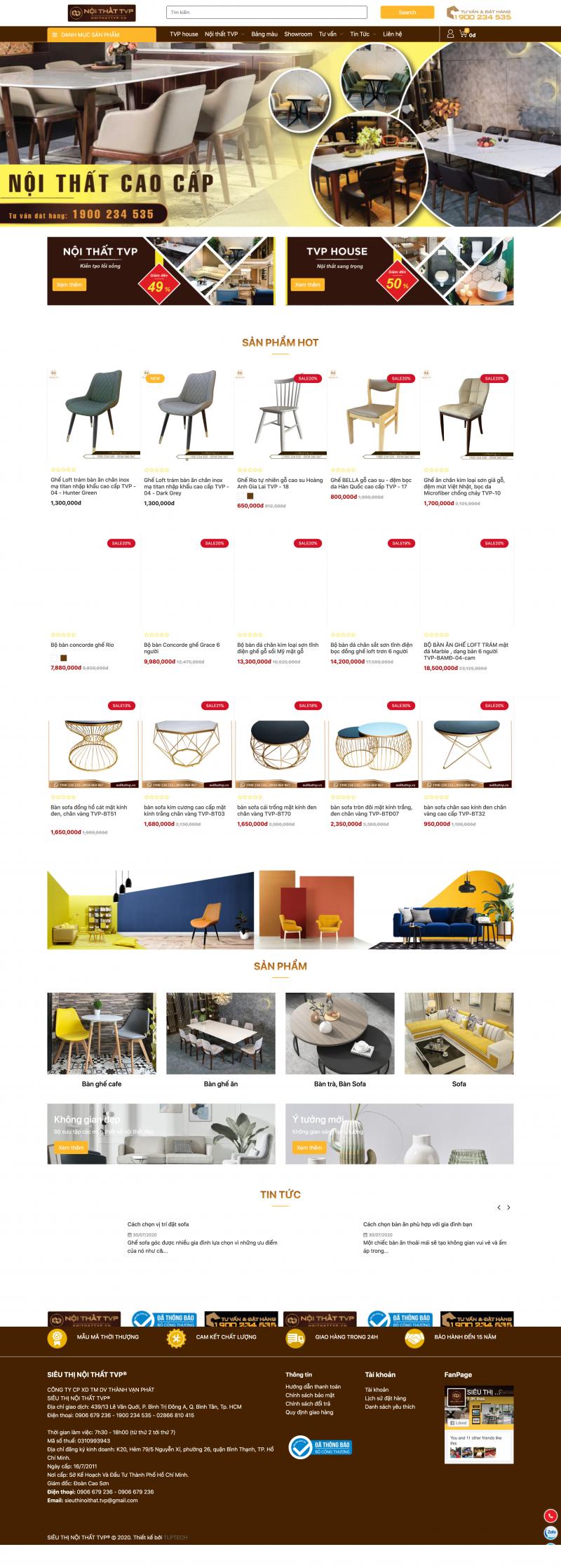 Thiết kế web nội thất - nội thất TVP