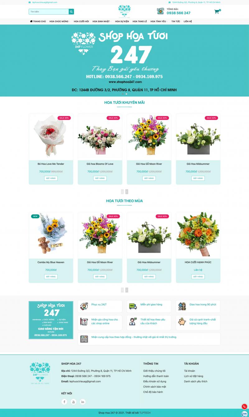 Thiết kế web bán hoa tươi - Shop Hoa