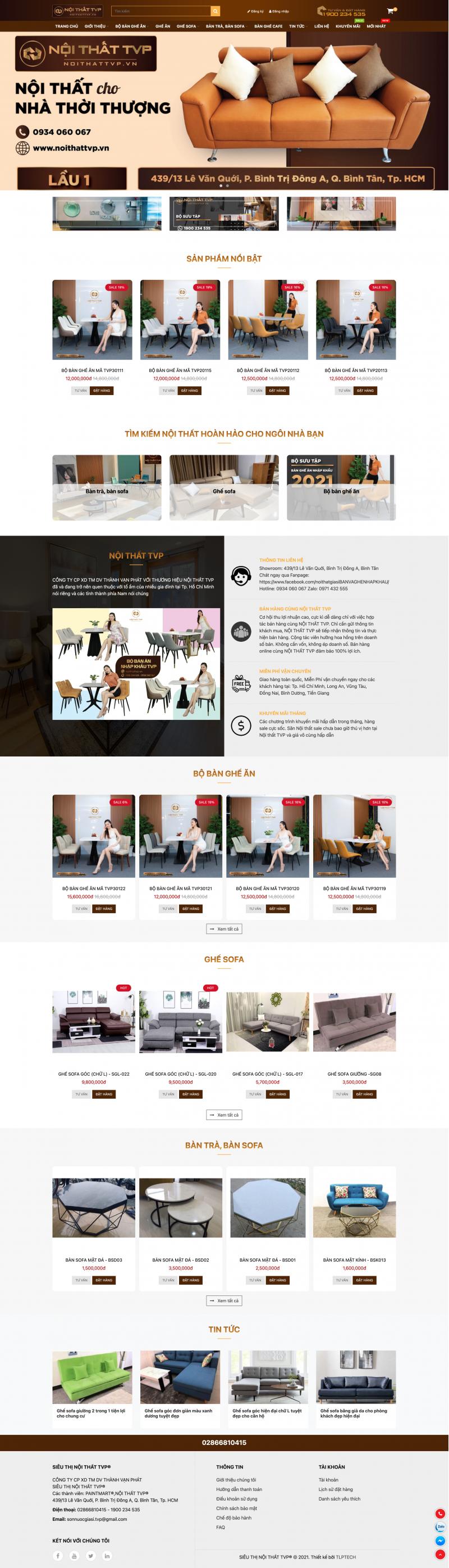 Thiết kế web nội thất - bàn và ghế