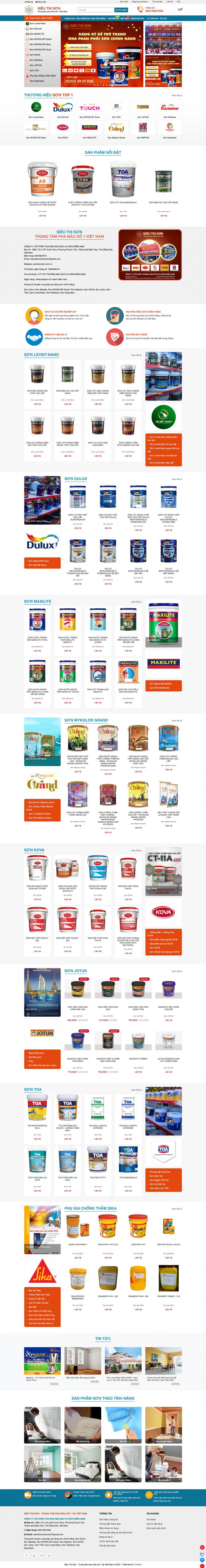Thiết kế web bán sơn - Sơn Miền Nam